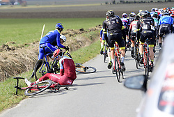 March 21, 2018 - La Panne, Belgique - DE PANNE, BELGIUM - MARCH 21 : crash HOLLENSTEIN Reto  (SUI)  of Team Katusha Alpecin  during the Driedaagse Brugge - De Panne cycling race with start in Brugge and finish in De Panne on March 21, 2018 in De Panne, Belgium, 21/03/2018 (Credit Image: © Panoramic via ZUMA Press)