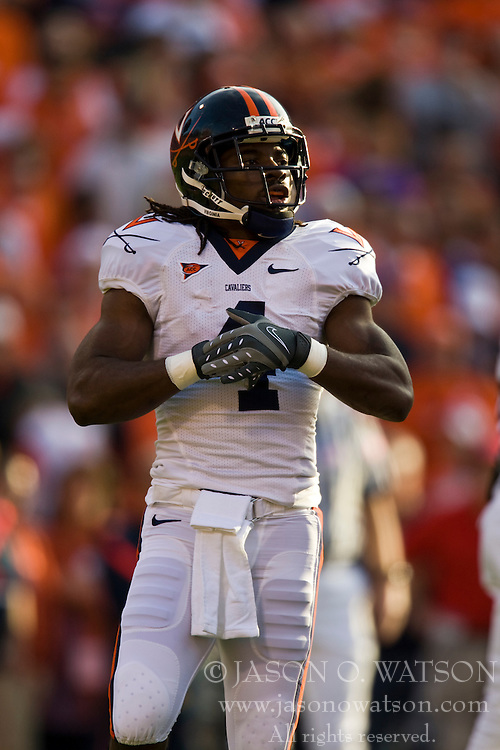 November 21, 2009; Clemson, SC, USA;  Virginia Cavaliers wide receiver Vic Hall (4) during the first quarter against the Clemson Tigers at Memorial Stadium.  Clemson defeated Virginia 34-21.