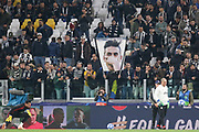 Juventus Forward Cristiano Ronaldo flag banner during the Champions League Group H match between Juventus FC and Manchester United at the Allianz Stadium, Turin, Italy on 7 November 2018.