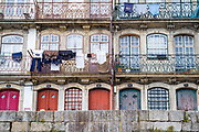 Balconied homes in bright colours in Porto, Portugal