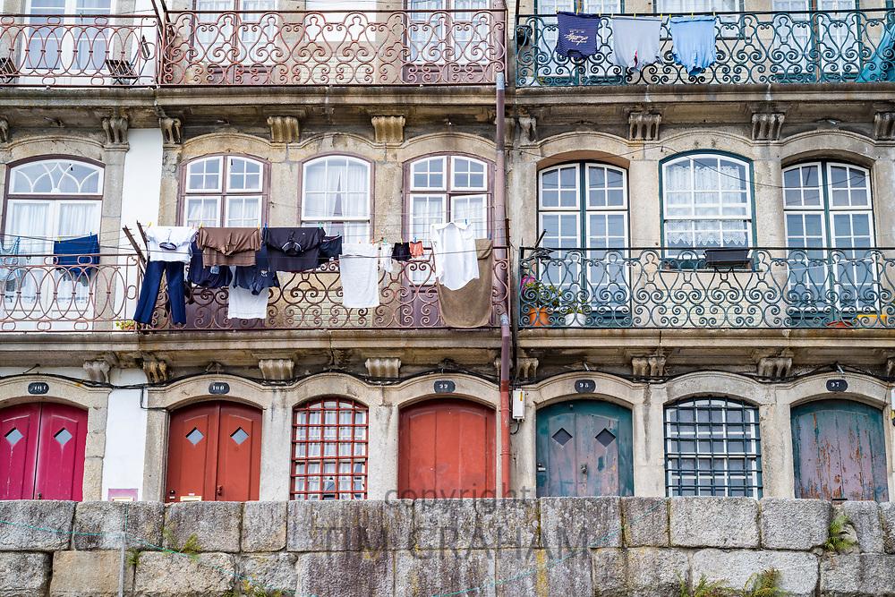 Balconied homes in bright colours in Porto, Portugal
