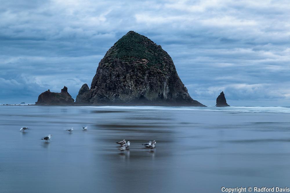 Haystack Rock, long exposure, Cannon Beach, Oregon