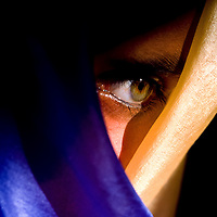 Green eye wrapped in blue and gold silk