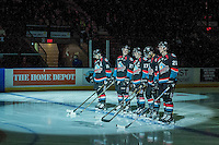KELOWNA, CANADA - NOVEMBER 1: The Kelowna Rocktes starting line up against the Kamloops Blazers on November 1, 2016 at Prospera Place in Kelowna, British Columbia, Canada.  (Photo by Marissa Baecker/Getty Images)  *** Local Caption ***