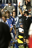 Photo: Aidan Ellis.<br /> Preston North End v Cardiff City. Coca Cola Championship. 09/09/2006.<br /> Cardiff's Glen Loovens is sent off