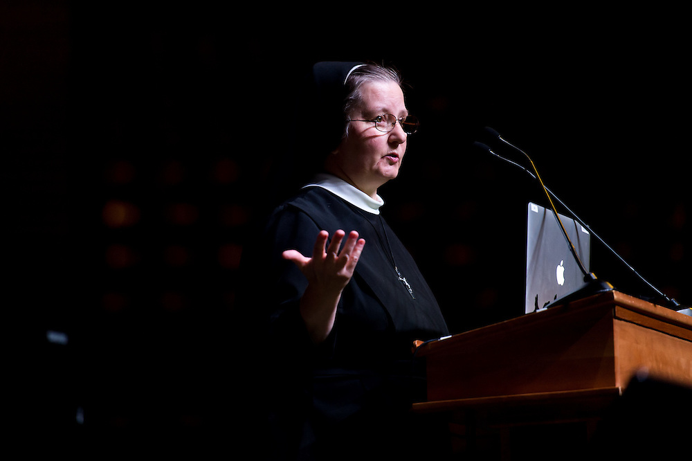 "DENVER, CO - MAY 7: Sister Johanna Paruch delivers a title talk called ""Come Holy Spirit, Fill the Hearts of the Faithful"" during the Sealed and Sent confirmation event at the Denver Coliseum on May 7, 2016, in Denver, Colorado. (Photo by Daniel Petty/Archdiocese of Denver)"