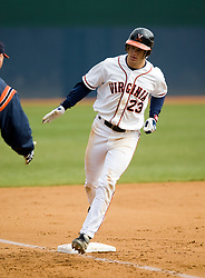 Virginia Cavaliers INF David Adams (23) rounds third after his second of two home runs against Lehigh.  The #17 ranked Virginia Cavaliers baseball team defeated the Lehigh Mountain Hawks 12-1 at the University of Virginia's Davenport Field in Charlottesville, VA on February 24, 2008.