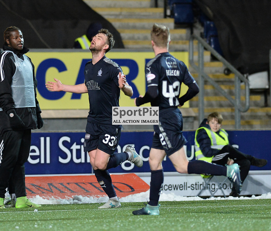 Rory Loy (Falkirk) celebrates scoring Falkirk's second goal during the Scottish Championship match between Falkirk and Brechin City at the Falkirk Stadium.<br /> <br /> (c) Dave Johnston | SportPix.org.uk