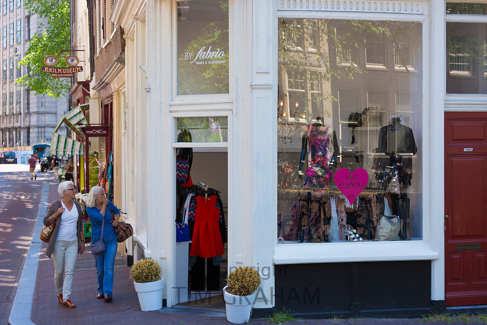 Chic ladies fashion shop in Huidenstraat in the Nine Streets shopping district, Amsterdam