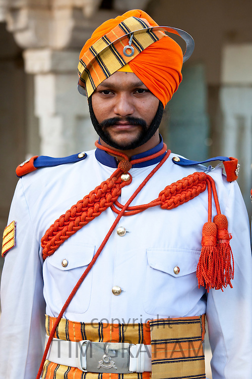 Military musician of 76th Maharana of Mewar, Mewar of Udaipur, at the City Palace, Rajasthan, India