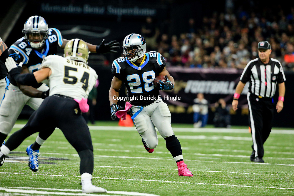Oct 16, 2016; New Orleans, LA, USA; Carolina Panthers running back Jonathan Stewart (28) runs against the New Orleans Saints during the second quarter of a game at the Mercedes-Benz Superdome. Mandatory Credit: Derick E. Hingle-USA TODAY Sports