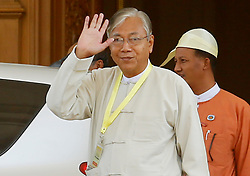 Newly elected president of Myanmar U Htin Kyaw waves to media in Nay Pyi Taw, Myanmar, March 15, 2016. U Htin Kyaw from Myanmar's ruling National League for Democracy (NLD), led by Aung San Suu Kyi, won the presidential election Tuesday through a secret ballot, thus becoming the country's new president for the next five-year term. (lyi). EXPA Pictures © 2016, PhotoCredit: EXPA/ Photoshot/ U Aung<br /> <br /> *****ATTENTION - for AUT, SLO, CRO, SRB, BIH, MAZ, SUI only*****