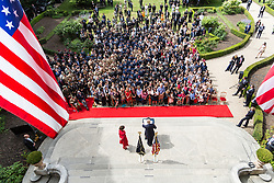 July 13, 2017 - Paris, France - U.S. President Donald Trump and First Lady Melania Trump address veterans gathered at the U.S. Embassy July 13, 2017 in Paris, France. The first family is in Paris to commemorate the 100th anniversary of the United States' entry into World War I and attend Bastille Day celebrations. (Credit Image: © Shealah Craighead/Planet Pix via ZUMA Wire)