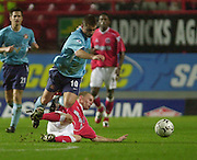 Charlton, London.  The Valley.<br /> 03/11/2002<br /> Barclaycard Premiership Football - Charlton Athletic v Sunderland<br /> Kevin Phillips, tackle by Robbie Mustoe    [Mandatory Credit:Peter SPURRIER/Intersport Images]