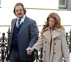 Christian Bale nominated for Best leading actor & Amy Adams nominated  best leading actress for the Oscars 2014.<br /> 59665151 .Christian Bale with Amy Adams on Filmset for American Hustle New York City, USA, May 17, 2013. Photo by: imago / i-Images. UK ONLY