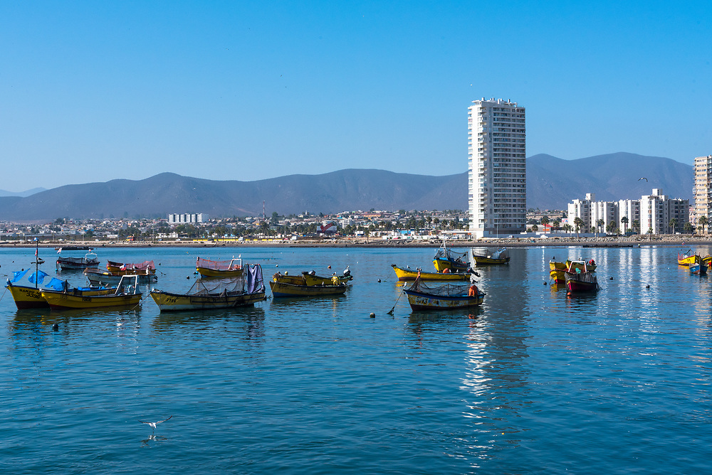 Coquimbo, Chile--April 7, 2018. Boats are quietly at anchor in the harbor of the port city of Coquimbo, Chile. Coquimbo city is in the background. Editorial Use Only.