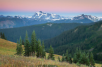 Alpenglow over Mount Shuksan from Skyline Divide, Mount Baker Wilderness, North Cascades Washington