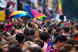 London, July 8th 2017. Thousands of LGBT+ revellers enjoy a Pride in London after party in Soho with this year's theme #LoveHappensHere.