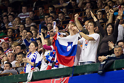 Slovenian fans during handball match between France and Slovenia in  Main Round of 10th EHF European Handball Championship Serbia 2012, on January 22, 2012 in Spens Hall, Novi Sad, Serbia. France defeated Slovenia 28-26. (Photo By Vid Ponikvar / Sportida.com)