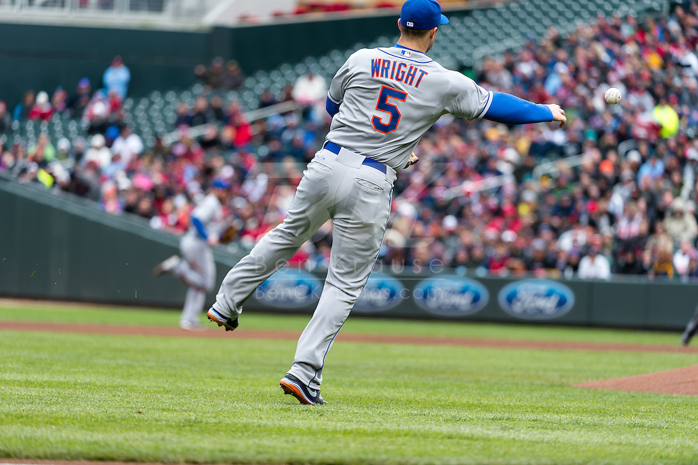 David Wright #5 of the New York Mets makes a throw to 1st base during a game against the Minnesota Twins on April 13, 2013 at Target Field in Minneapolis, Minnesota.  The Mets defeated the Twins 4 to 2.  Photo: Ben Krause