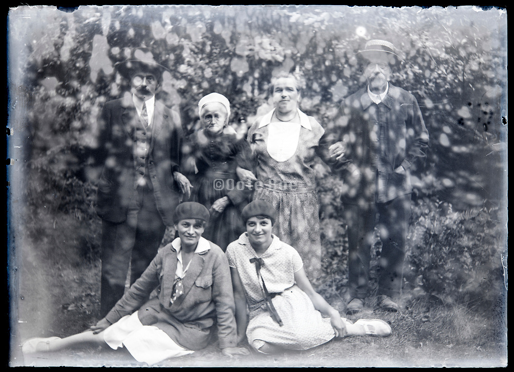 damaged emulsion with family group portrait circa 1920s