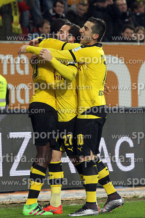 20.03.2016, WWK Arena, Augsburg, GER, 1. FBL, FC Augsburg vs Borussia Dortmund, 27. Runde, im Bild Adrian Ramos ( Borussia Dortmund ) Gonzalo Castro ( Borussia Dortmund ) Henrikh Mkhitaryan ( Borussia Dortmund ) nach dem 1:2 // during the German Bundesliga 27th round match between FC Augsburg and Borussia Dortmund at the WWK Arena in Augsburg, Germany on 2016/03/20. EXPA Pictures &copy; 2016, PhotoCredit: EXPA/ Eibner-Pressefoto/ Langer<br /> <br /> *****ATTENTION - OUT of GER*****