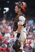 San Francisco Giants catcher Buster Posey (28) reacts to the St. Louis Cardinals hitting back-to-back home runs against San Francisco Giants starting pitcher Madison Bumgarner (40) at AT&T Park in San Francisco, California, on September 3, 2017. (Stan Olszewski/Special to S.F. Examiner)