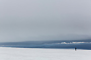 Person walking on Langjökull, glacier