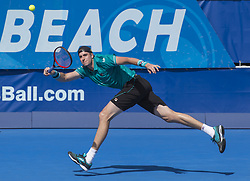 February 21, 2018 - Delray Beach, FL, United States - Delray Beach, FL - February 21: John Isner (USA) drops the first set 67(3) against John Isner (USA) at the 2018 Delray Beach Open held at the Delray Beach Tennis Center in Delray Beach, Florida.   Credit: Andrew Patron/Zuma Wire (Credit Image: © Andrew Patron via ZUMA Wire)