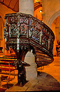 France, Brittany.   Mur de Bretagne, carved wooden pulpit.