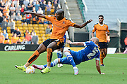 Benik Afobe fouled by Bruno Saltor during the Sky Bet Championship match between Wolverhampton Wanderers and Brighton and Hove Albion at Molineux, Wolverhampton, England on 19 September 2015. Photo by Alan Franklin.
