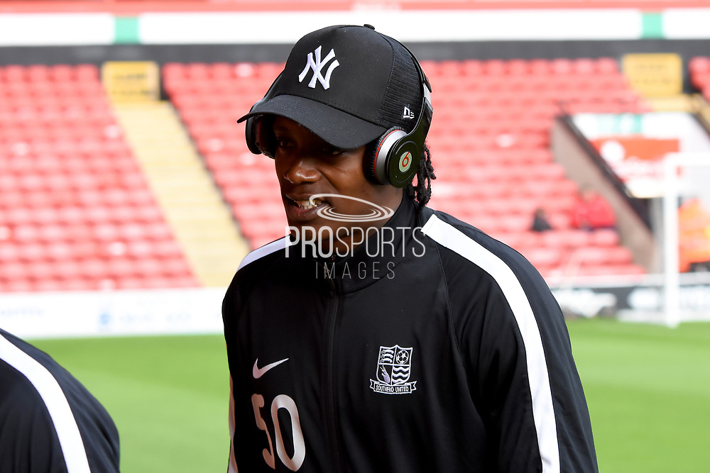 Southend United striker Nile Ranger (50) inspects the pitch during the EFL Sky Bet League 1 match between Walsall and Southend United at the Banks's Stadium, Walsall, England on 28 October 2017. Photo by Alan Franklin.