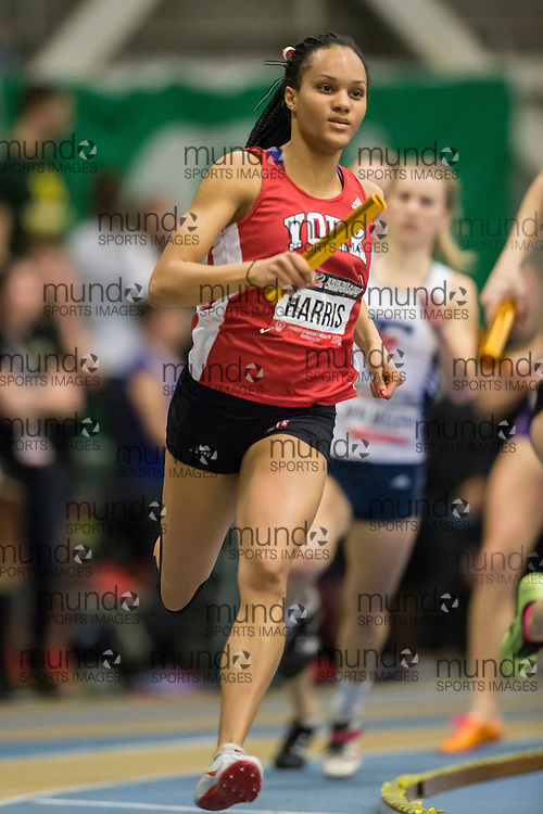 Windsor, Ontario ---2015-03-14--- Sheereen Harris of York Universitycompetes in the 4X400m at the 2015 CIS Track and Field Championships in Windsor, Ontario, March 14, 2015.<br /> GEOFF ROBINS/ Mundo Sport Images