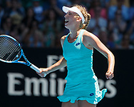 ELISE MERTENS (BEL)  jubelt nach ihrem Sieg, Jubel,Freude,Emotion,<br /> Tennis - Australian Open 2018 - Grand Slam / ATP / WTA -  Melbourne  Park - Melbourne - Victoria - Australia  - 23 January 2018.