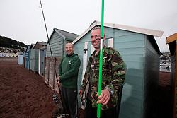 UK ENGLAND DEVON TEIGNMOUTH 10SEP16 - Anglers Pete Davey (48), a chef and carpenter Gerry Chenery (45) of  Lapford at Teignmouth harbour, Devon, England.<br /> <br /> jre/Photo by Jiri Rezac<br /> <br /> &copy; Jiri Rezac 2016