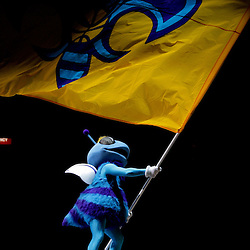 Oct 10, 2009; New Orleans, LA, USA; New Orleans Hornets mascot Hugo waves a flag prior to tip off against the Oklahoma City Thunder at the New Orleans Arena. Mandatory Credit: Derick E. Hingle-US PRESSWIRE