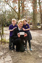 Pictured: Rossi Amabile (aged 6) and Sophia Hind (aged 6) presented the cheque to Lee Williams, Scottyish SPCA education Officer. <br /> The Scottish SPPA launched the education programme at Buckstone Primary School in Edinburgh today. .he animal welfare charity's head of education and policy Gilly Mendes Ferreira and Dr Jo Williams, senior lecturer in clinical and health psychology, came along to start the programme at the school. The pupils had raised £  and presented a cheque to Lesley of the Scottish SPCA.  Children from the school learnt a valuable lesson when five pupils found an injured pigeon and callwe the Scottish SPCA who came to the rescue.<br /> <br /> Ger Harley | EEm 1 March 2017