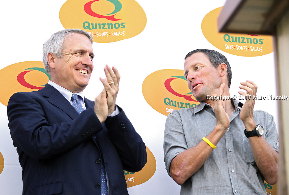 SHOT 8/4/10 10:17:12 AM - Former Tour de France champion Lance Armstrong (right) and Colorado Governor Bill Ritter (left) officially announced plans today for an elite international cycling race to take place in Colorado in 2011 at a press conference on the steps of the state Capitol. The Quiznos Pro Challenge will be the first pro-cycling event in the state since the Coors Classic, which ran from 1979-1988. The Challenge will be held Aug. 22-28, 2011. It will feature a mix of mountain, sprint and downtown stages, and is expected to draw the top cycling teams from around the world. After the press conference Armstrong and Ritter joined an estimated 2,000 cyclists that had attended on a bike ride to Washington Park. (Photo by Marc Piscotty / © 2010)
