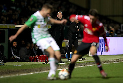 Yeovil Town manager Darren Way (centre) looks on during the Emirates FA Cup, fourth round match at Huish Park, Yeovil.