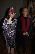 "David Sassoon and Zandra Rhodes. The private views for Anna Piaggi's exhibition ""Fashion-ology"" and also 'Popaganda: the life and style of JC de Castelbajacat' the Victoria & Albert Museum on January 31  2006. © Copyright Photograph by Dafydd Jones 66 Stockwell Park Rd. London SW9 0DA Tel 020 7733 0108 www.dafjones.com"