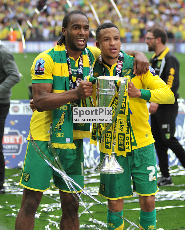 Norwich Cameron Jerome and Martin Olsson Celebrate at Wembley, Middlesbrough v Norwich, Sky Bet Championship, Wembley Stadium, Monday  25th May 2015