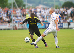 ZUG, SWITZERLAND - Wednesday, July 21, 2010: Liverpool's David Amoo in action against Grasshopper Club Zurich during the Reds' first preseason match of the 2010/2011 season at the Herti Stadium. (Pic by David Rawcliffe/Propaganda)
