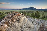 Sandstone rock formations, Rocky Mountain Front Range near Choteau Montana