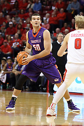 03 February 2018:  Blake Simmons works the outside defended by Isaac Gassman during a College mens basketball game between the Evansville Purple Aces and Illinois State Redbirds in Redbird Arena, Normal IL