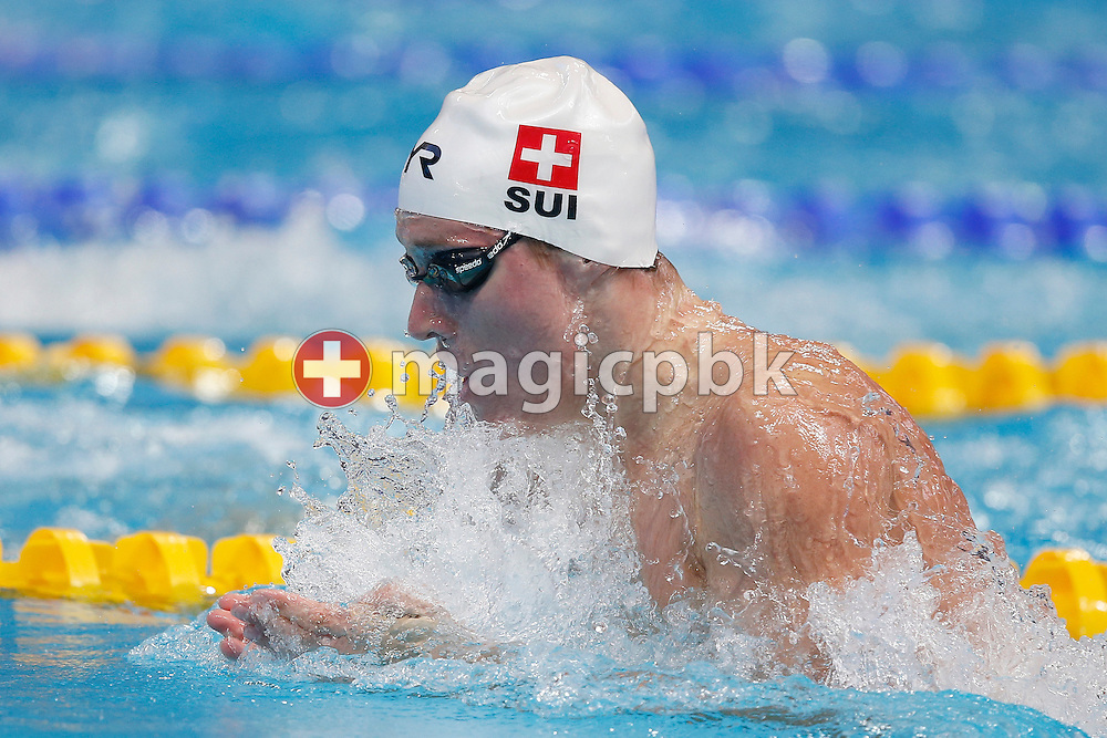 Yannick KAESER of Switzerland competes in the men's 100m Breaststroke Heats during the 16th FINA World Swimming Championships held at the Kazan arena in Kazan, Russia, Sunday, Aug. 2, 2015. (Photo by Patrick B. Kraemer / MAGICPBK)