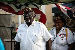 Comrade Albert A. Mercer steps forward to receive a certificate of appreciation. .  Veteran's Day Parade and Program at the Frankliin Delano Roosevelt Memorial Park in Charlotte Amalie.  St. Thomas.  11 November 2013.  © Aisha-Zakiya Boyd