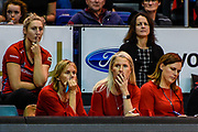 A dejected Julie Seymour Assistant Coach of the Tactix and Marianne Delaney-Hoshek Coach of the Tactix with Manager  Leanne Harris during the ANZ Premiership Netball match, Tactix v Steel, Horncastle Arena, Christchurch, New Zealand, 11th June 2018.Copyright photo: John Davidson / www.photosport.nz
