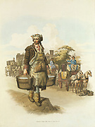 Water carrier with buckets, and hackney cab drivers watering their horses. From William Henry Pyne 'The Costume of Great Britain', London, 1808. Aquatint.