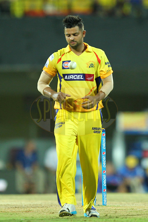 Suresh raina of Chennai Super Kings during match 28 of the Pepsi IPL 2015 (Indian Premier League) between The Chennai Superkings and The Kolkata Knight Riders held at the M. A. Chidambaram Stadium, Chennai Stadium in Chennai, India on the 28th April 2015.Photo by:  Prashant Bhoot / SPORTZPICS / IPL