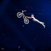 January 8, 2014 - New York, NY : Nitro Circus, an action/extreme sports show starring Travis Pastrana, made its Madison Square Garden debut in Manhattan on Wednesday night. Pictured here, Jaie Toohey does a stunt on his BMX bike during the show. CREDIT : Karsten Moran for The New York Times **SEE LICENSING  RESTRICTIONS IN INSTRUCTION FIELD**